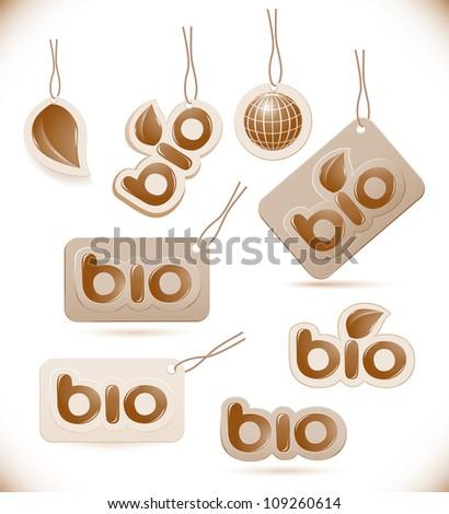 Set of labels bio sign