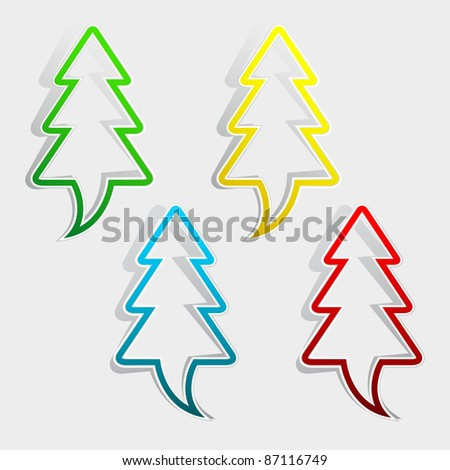 Set of labels - christmas trees