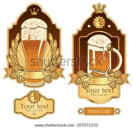 set of labels for beer glasses
