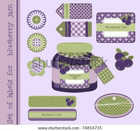 Set of labels for blueberry jam, vector