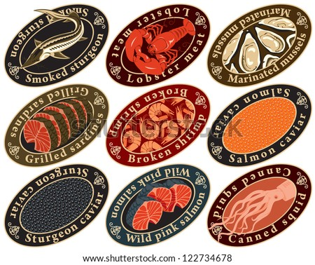 set of labels for seafood
