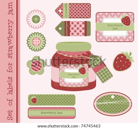 Set of labels for strawberry jam, vector