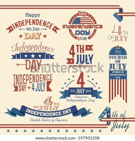Set of labels for the U.S. Independence Day - July 4