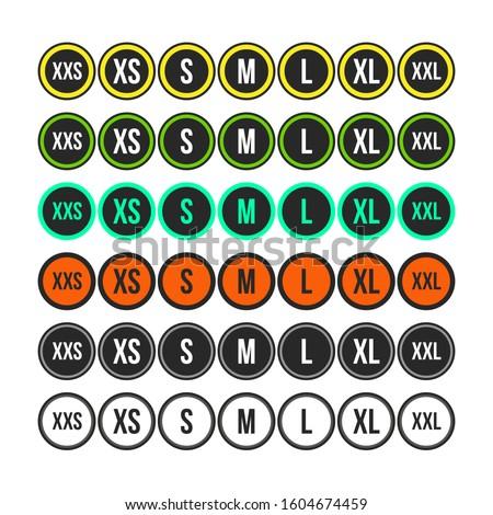Set of labels, gradation of clothing size. XXS, XS, S, M, L, XL, XXL. Seven options and designs. Degree of sizes. Chosen sticker Stock fotó ©