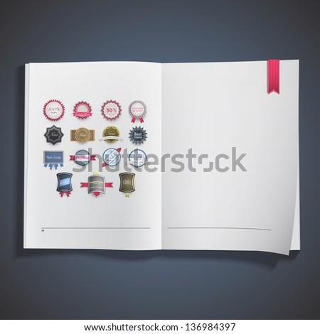 Set of labels inside a book. Vector design