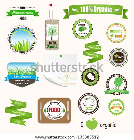 Set of labels logos and stickers on organic and natural food