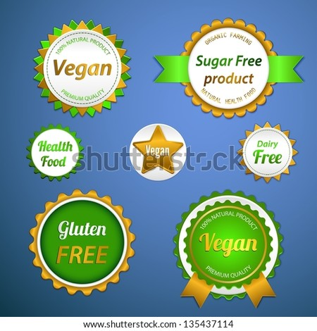 Set of labels, logos and stickers on organic and natural food - stock vector