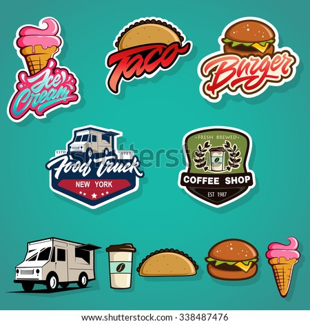 Set of labels, logotype and elements for different fast food