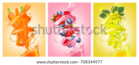 Set of labels of of fruit in juice splashes. Strawberry, blueberry, raspberry, carrot, grapes. Vector.