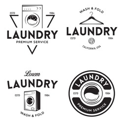 Set of labels or logos for laundry service. Vector emblems and design elements. Laundry logo and household wash templates and badges. Vector illustration.