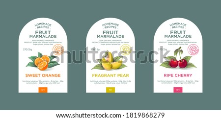 Set of 3 labels, packaging of fruit marmalade. Nature organic product. Text with realistic fruits and leaves on white base.