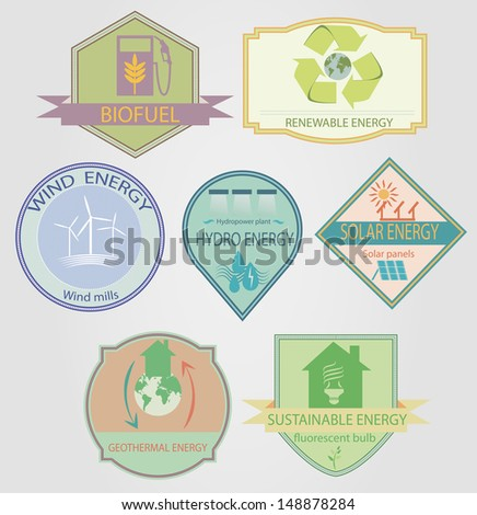 set of labels relating to ecology theme, including wind power, geothermal, renewable, solar, hydro energy