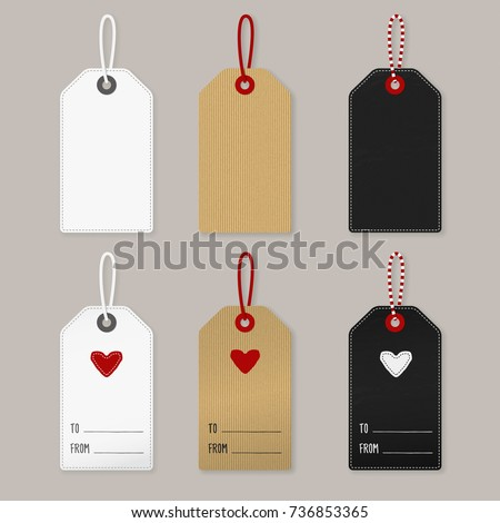 Set of Labels, white, cardboard and blackboard: Blank and as a gift tag for a present for your loved one with little cute heart