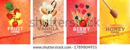 Set of labels with fruit and berry  drink. Fresh fruits juice splashing together- vanilla, almond, strawberry, pineapple, raspberry, honey juice drink splashing. 3d fresh fruits. Vector illustration