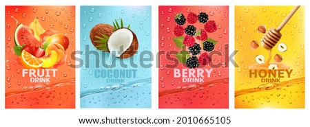 Set of labels with fruit and berry  drink. Fresh fruits juice splashing together- watermelon, banana, mango, orange, strawberry, raspberry, coconut, honey, nut juice drink splashing. Vector