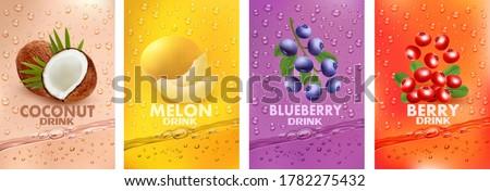 Set of labels with fruit drink. Fresh fruits juice splashing together- coconut, melon, blueberry, cranberry juice drink splashing. 3d fresh fruits. Vector illustration