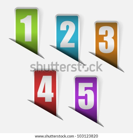 Set of labels with numbers from one to five
