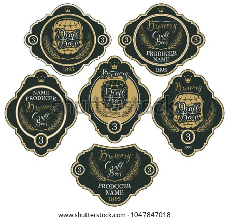 Set of labels with wheat ears, crowns, wooden barrels and handwritten inscriptions in figured frames. Vector labels for craft and draft beer and brewery on black background in retro style