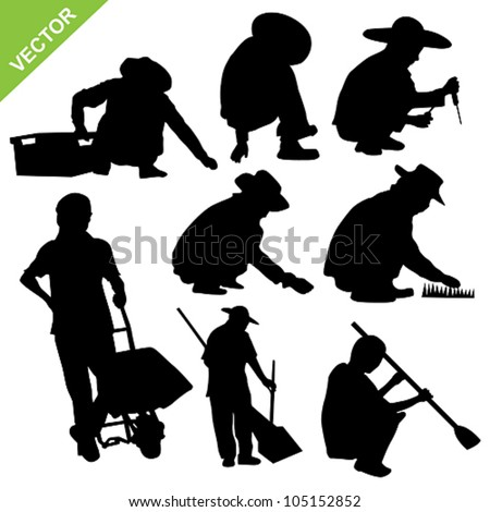 Set of labour sillouette vector