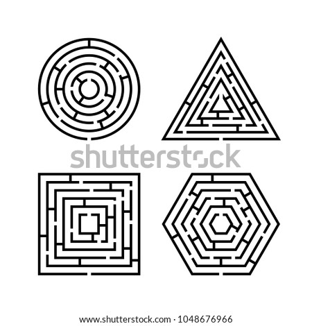 Set of Labyrinth Different Shapes for Game. Maze square, round, hexagon and triangle puzzle riddle logic game concept. Business sign. Vector illustration isolated on white