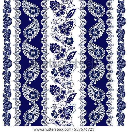 Set of Lace Bohemian Seamless Borders. Stripes with Blue Floral Motifs, Roses, Paisleys. Decorative ornament backdrop for fabric, textile, wrapping paper.