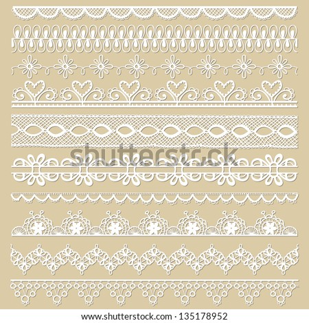 Set of lace ribbons for design and scrapbook in vector