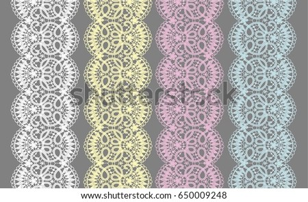 set of lace ribbons for design
