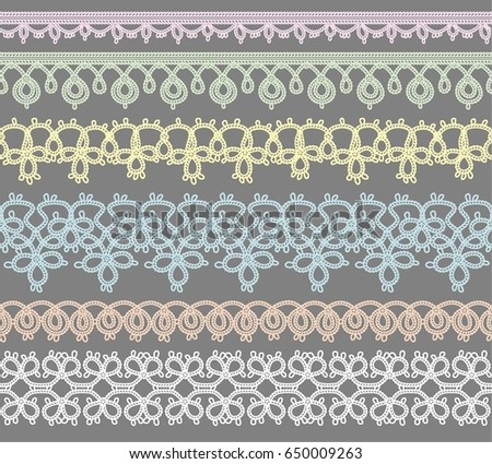 Set of Lace Ribbons for design and scrapbook. Vector #650009263