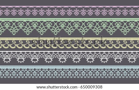 Set of Lace Ribbons for design and scrapbook. Vector #650009308