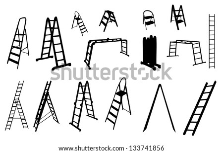 set of ladder silhouette