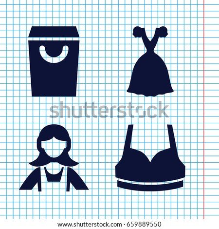 set of 4 lady filled icons such