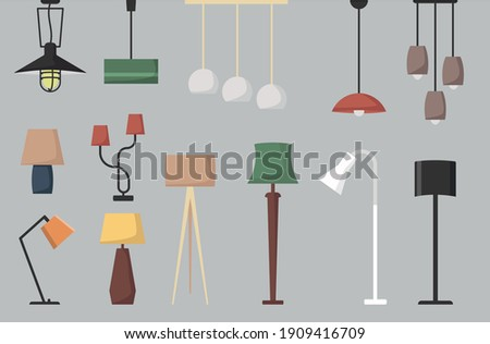 Set of lamp. Vector collection of floor lamp table lamp  ceiling lamp. Vector cartoon set. Photo stock ©