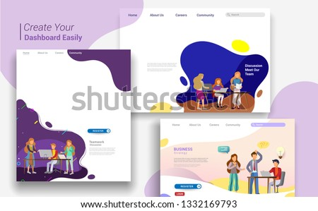 Set of landing page design templates, business strategy, analytics and brainstorming. Modern vector illustration concepts for website design ui/ux and mobile website development, business presentation