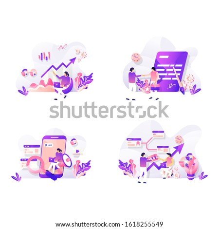 Set of Landing page design templates for . Analytics Data, Business Contract, Marketing Research, Business Plan, Modern vector illustration concepts for website and mobile website development.