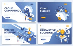 Set of Landing page design templates for Cloud Computing, Cloud Storage, Mobile app Development and Innovative Solution. Easy to edit and customize. Modern Vector illustration concepts for websites
