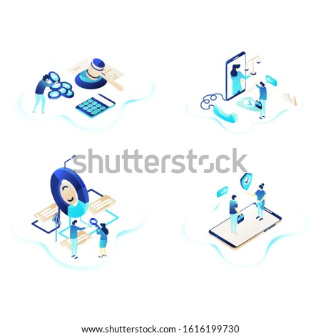 Set of Landing page design templates for . Contact Insurance Agent, Risk Evaluation, Legal Assistance, Legal Expenses Insurance Modern vector illustration concepts for website and mobile website