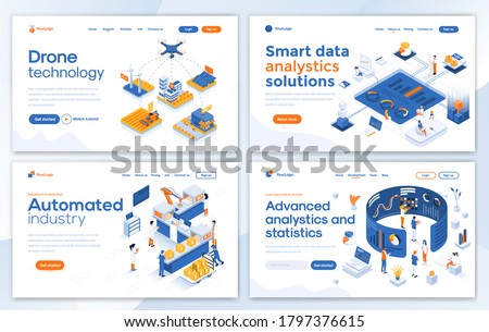 Set of Landing page design templates for Drone technology, Smart data analysis, Automated industry and Advanced analysis. Easy to edit and customize. Modern Vector illustration concepts for websites