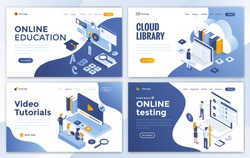 Set of Landing page design templates for Online Education, Cloud Library, Video Tutorials and Online testing. Easy to edit and customize. Modern Vector illustration concepts for websites