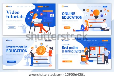Set of Landing page design templates for Online Education, Video Tutorials, Investment in education and Best online learning system. Easy to edit and customize. Modern Vector illustration concepts