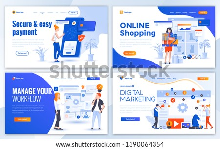 Set of Landing page design templates for Secure Payment, Online Shopping, Manage your workflow and Digital Marketing. Easy to edit and customize. Modern Vector illustration concepts for websites