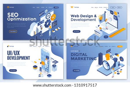 Set of Landing page design templates for SEO, Web Design, Ui Development and Digital Marketing. Easy to edit and customize. Modern Vector illustration concepts for websites