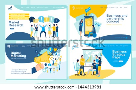 Set of Landing page design templates for SEO, Web Design, Ui Development and Digital Marketing. Business and partnership concept,success, hi-tech technology, signing documents.  Vector illustration