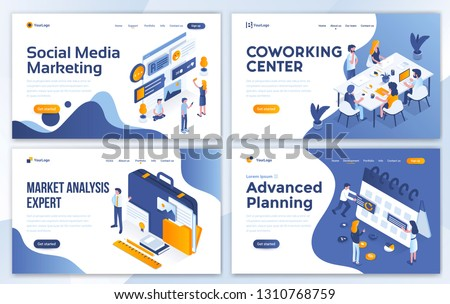 Set of Landing page design templates for Social Media marketing, Coworking center, Marketing Analysis expert and Advanced Planning. Easy to edit and customize. Modern Vector illustration concepts