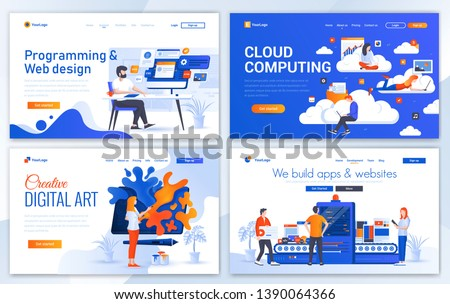 Set of Landing page design templates for Web design, Cloud Computing, Digital art a App development. Easy to edit and customize. Modern Vector illustration concepts for websites