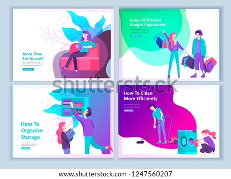 Set of Landing page template about effective house organization. People character couple men and woman clean the house, efficiently organize a wardrobe, plan a budget, more time for rest and yourself