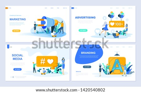 Set of landing page template for Digital Marketing, Advertising, Social Media, Branding. Modern vector illustration flat concepts decorated people character for website and mobile website development.