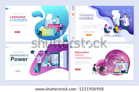 Set of landing page template for education, consulting, training, language courses. Modern vector illustration flat concepts decorated people character for website and mobile website development.
