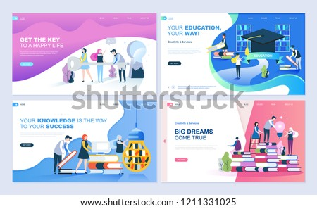 Set of landing page template for education, know how, university, business solutions. Modern vector illustration flat concepts decorated people character for website and mobile website development.