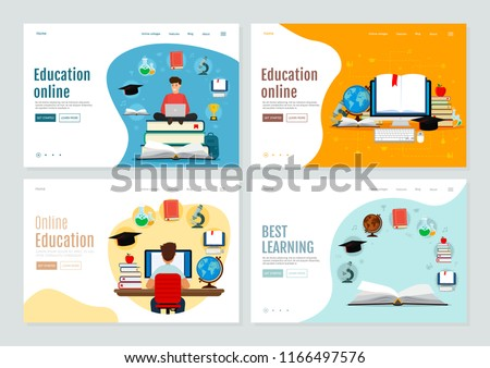 Set of landing page template for online education and e-learning. Vector modern illustration. Flat design. EPS 10.