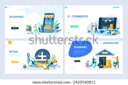 Set of landing page template for Online Shopping, E-commerce, Retail, Internet Banking. Modern vector illustration flat concepts decorated people character for website and mobile website development.